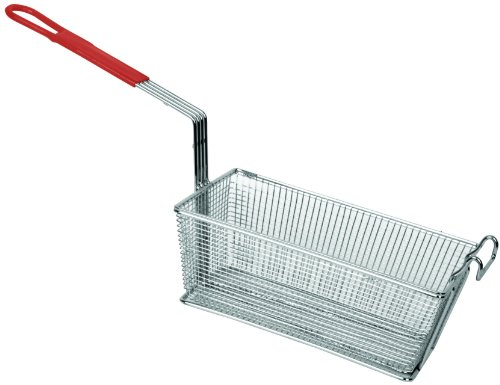 "Browne  13"" x 5-1/2"" Wire Rectangular Fry Basket w/ Red Plas"