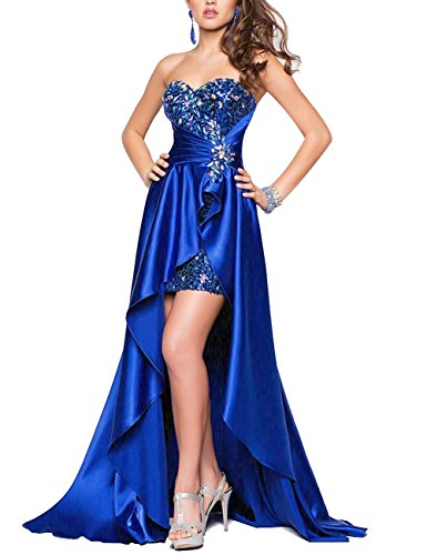 Bbonlinedress Hi-Lo Sexy Sweetheart Beaded Sequins Evening Party Gowns Prom Dresses Royal blue 18W (Blue Formal High Low Dress)