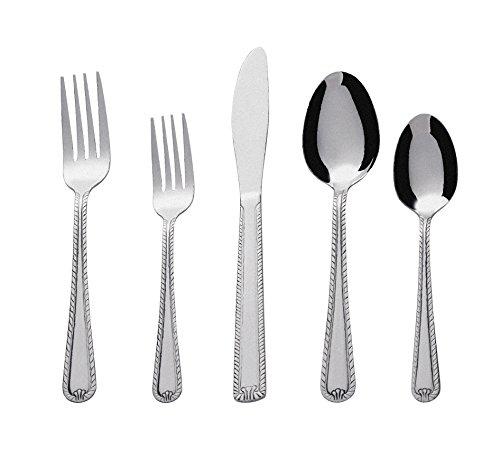 Bon Tulip 20-Piece Stainless Steel Flatware Silverware Cutlery Set, Include Knife/Fork/Spoon, Dishwasher Safe, Service for 4