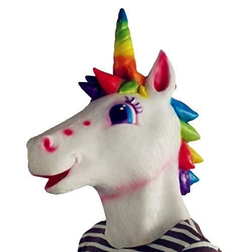 Unicorn Mask Halloween Cosplay Masquerade Costume Party Latex Animal Horse Head Mask Adults & Kids (Rainbow -