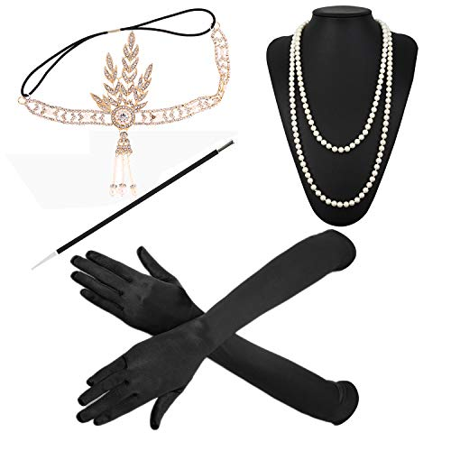 ZeroShop 1920s Accessories Feather Jewel Headband Faux Pearl Necklace Gloves Cigarette Holder by -