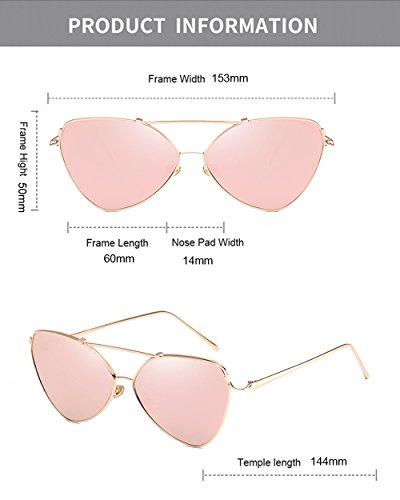 Gafas elegantes de cuero para Gafas Rosado sol con mujeres gato señoras sol de ojo de de para de Rosetón estuche zSq7ww