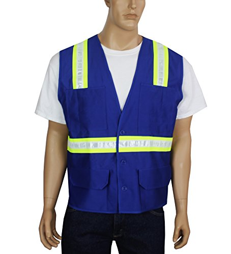 Safety Depot Safety Vest Professional Style 6 Pocket with Pen Dividers Hi Vis Reflective Button Down Suitable for Supervisor, Chief, and Leaders Positions BTN6038-RB (Royal Blue, - Www Com Day Rb