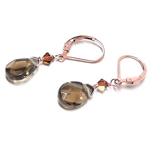 Swarovski Crystal Quartz Earrings (Created Smoky Quartz Briolette Lever Back Earrings Swarovski Crystal Rose Gold-Filled)