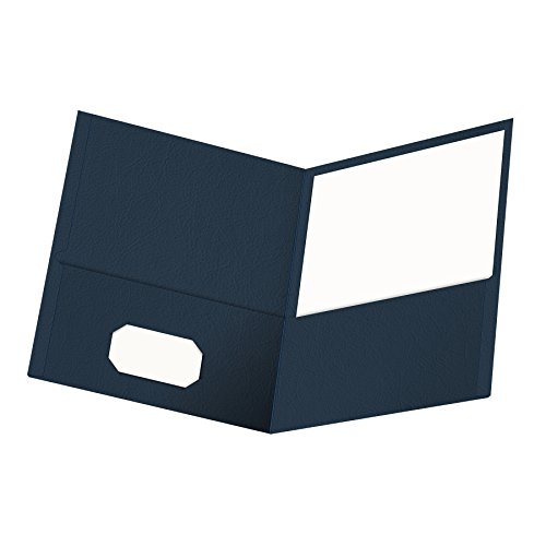 Oxford Twin-Pocket Folders, Textured Paper, Letter Size, Dark Blue, Holds 100 Sheets, Box of 25 (57538EE) (Esselte Business Card Holder)