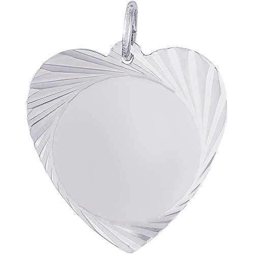 Large Charm (Genuine Rembrandt Charms Sterling Silver Large Faceted Heart Disc Charm Measuring Approximately 22 x 21.5 mm)