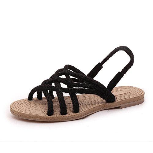 grandes de artesanal Donyyyy mujer plano de Forty fondo de astilleros sandalias cáñamo zapatos cuerda de dPqrPORw