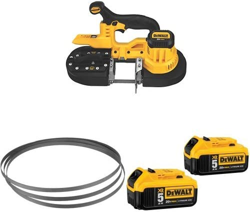 DEWALT DCS371B 20V MAX Lithium-Ion Band Saw, Bare-Tool with 20V MAX XR 5.0Ah Lithium Ion Battery, 2-Pack and 24 TPI Portable Band Saw Blade, 3-Pack