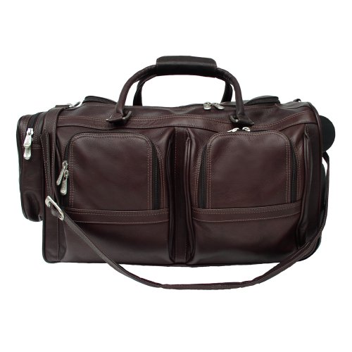 Piel Leather Duffel with Pockets On Wheels, Chocolate, One Size by Piel Leather