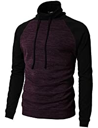 Mens Slim Fit Turtle Funnel Neck Drawstring Long Sleeve Pullover Sweater
