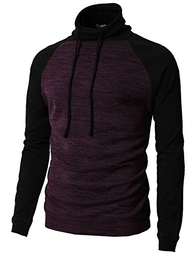 H2H Men's Long Sleeve Marled Stripe Funnel Neck Pullover Sweater BLACKWINE US XL/Asia 2XL ()