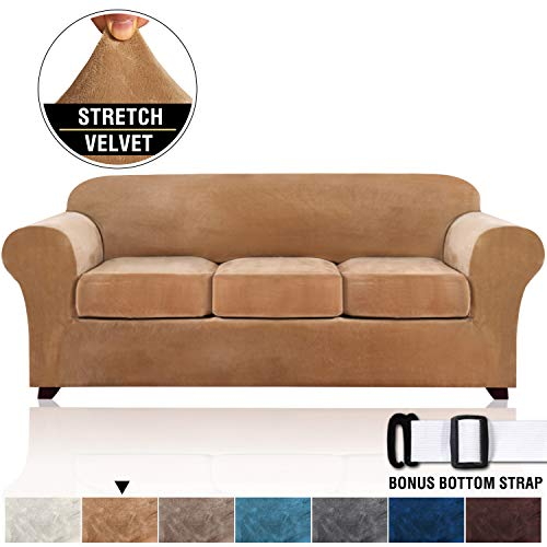 Real Velvet Plush 4 Pieces Sofa Slipcovers for Living Room, Thick Velvet Sofa Covers for 3 Cushion Couch, High Stretch Furniture Covers for 3 Seat Sofas, Machine Washable (Sofa, Luggage)