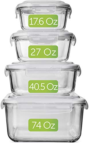 Large Glass Food Storage Containers with Lids - Glass Storage Containers with Lids - Glass Food Containers - Glass Meal Prep Containers - Glass Containers For Food Storage With Lids Airtight -[4-Pack] -