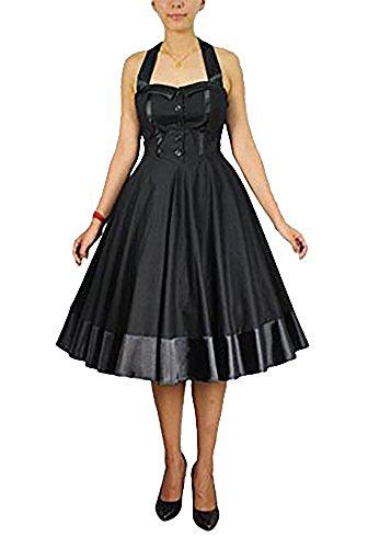 Gothic vintage dress Neckholder Kleid schwarz 50er Style schwarz zum Petticoat