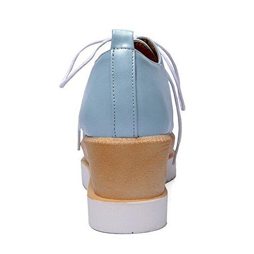 Amoonyfashion Donna Stringate Quadrate Punta Chiusa Gattino Tacchi Pu Pompe Di Colore Assortiti Scarpe Blu