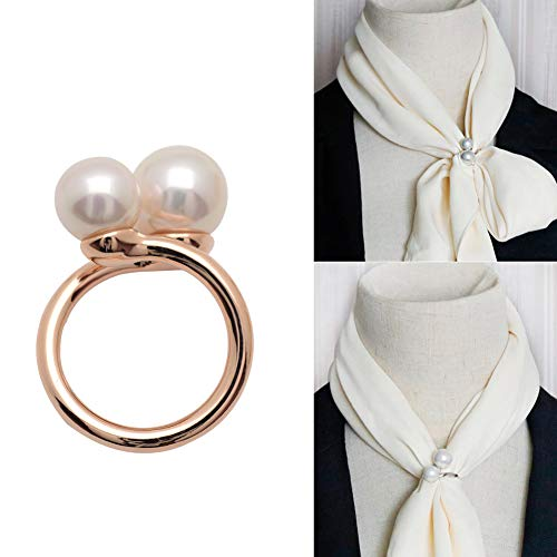 Joyci Simple Circle Design Rings Scarf Buckle Woman's Enchanting Scarf Silk Clip Brooch Pins Clip with Double Pearl (Rose ()