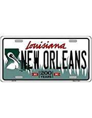 Inga Placa de matrícula New Orleans Louisiana State 200 Years de 15 x 30 cm