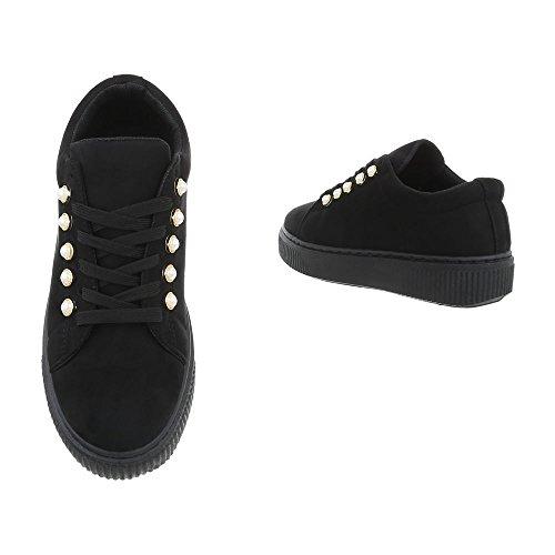 Zapatillas Zapatos para Ital Mocasines Negro Design Plano Sp1809 mujer wqIZqzS