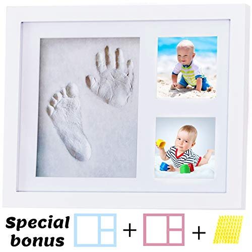 (Baby Footprint Kit, Handprint Kit, Picture Frame With Gift Box By 4baby Stars, Baby Shower Gifts, Baby Gifts, Newborn Gifts, 4 Girls and Boys, Baby Keepsake Box, Baby Registry, Mom)
