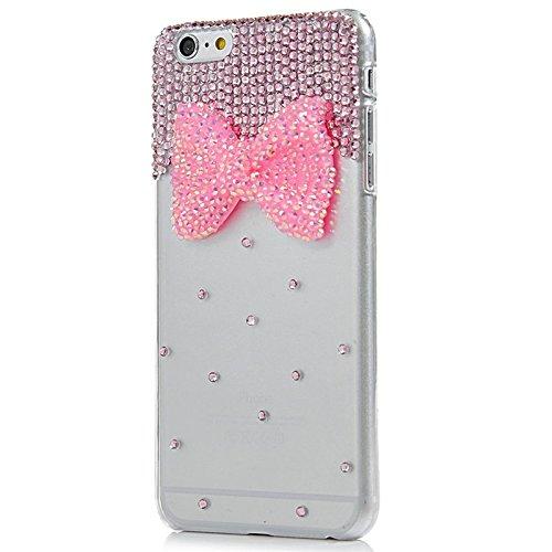 iPhone 6 Hülle, Yokata Luxury Transparent mit Rosa Bowknot Motiv Case Glitzer Bling 3D Diamant Cover PC Hart Plastik Schutz Creative Schutzhülle + 1 X Stylus Pen