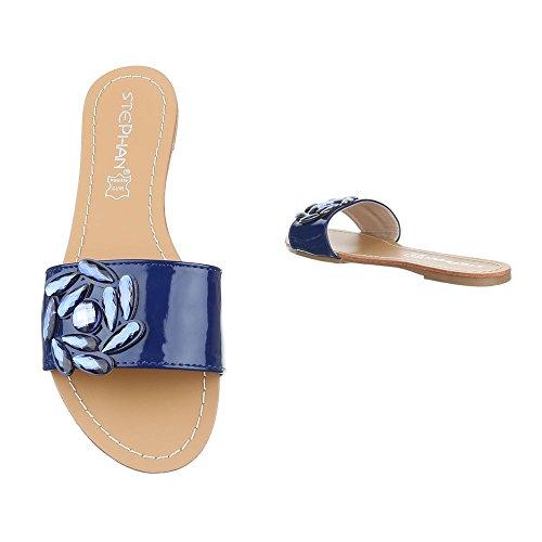 Ital-Design Zapatillas de Baile (Jazz y Contemporáneo) Mujer Azul