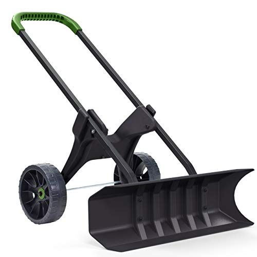 Heavy Duty 30 Inch Rolling Snow Removal Push Plow Shovel on Wheels with Never Flat Tires and Back Saving Design - Made in USA - by Vertex Model ()