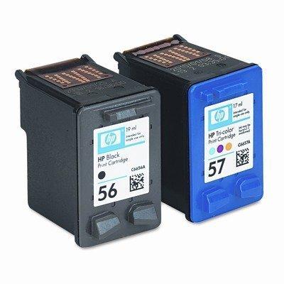 HP 56/57 (C9321FN, C9321FN140) Combo Pack OEM Genuine Inkjet/Ink Cartridges (Black C6656AN+ Tri-Color C6657AN)*1 - Retail by HP