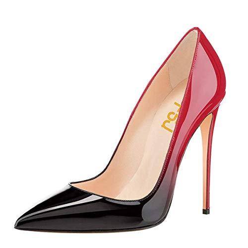 FSJ Women Fashion Pointed Toe Pumps High Heel Stilettos Sexy Slip On Dress Shoes Size 9.5 Black-red ()