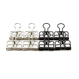 Photo Clips Hollow Clips Binder Clips for Office,size of 57X33X10 mm, Assorted Colors, 8 Pcs/Box