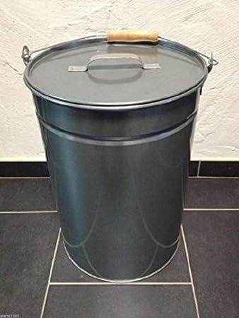 Set Ascheeimer verzinkt 25L Deckel,Feger,Schaufel,Schürhaken und Aschekratzer