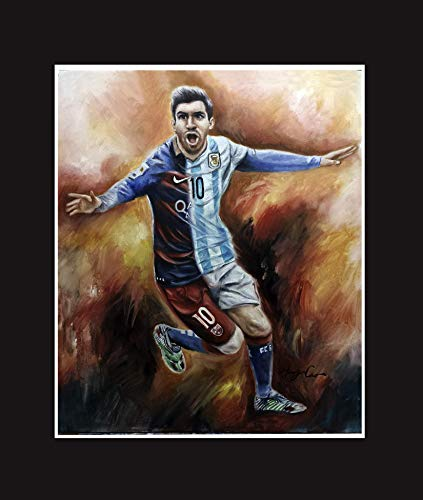 Lionel Messi, the world famous soccer player. Oil painting print 16 X 20