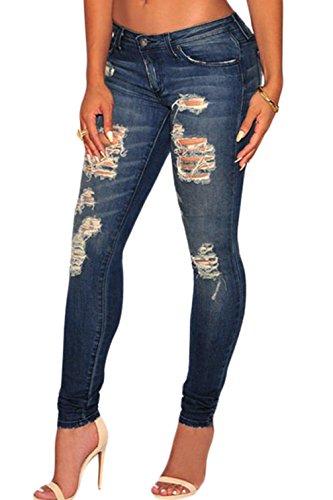 Femme Sexy fonc dpolie Wash Denim Dtruit Jeans skinny. Taille?: Medium.