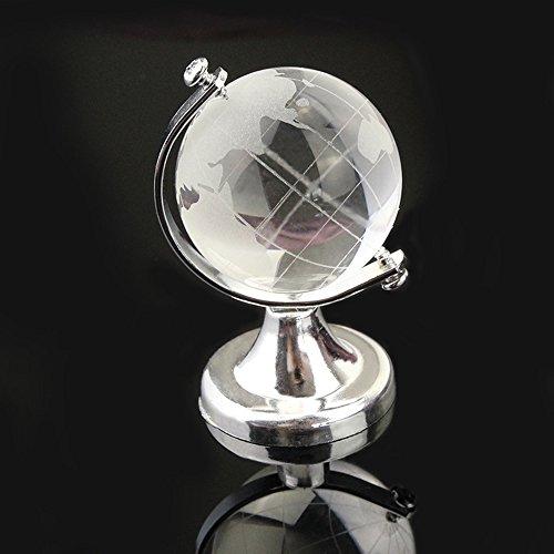 Earth Globe Vase - QQYL Earth Clear Crystal Glass World Globe Ball Spinning Light Ornament Small Decor Centerpiece Tellurion Child Toy Womens Snow Globe Bathroom Bedroom Decor