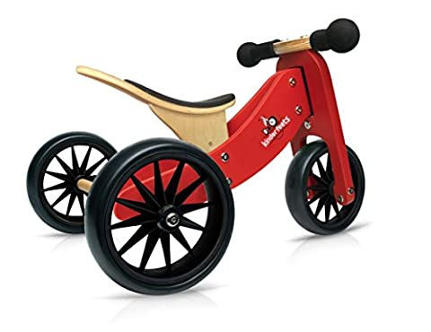 Kinderfeets TinyTot Wooden Balance Bike and Tricycle, Convertible No Pedal Balance Trike for Kids and Push Bike, Red - 2 in (1 2 Inch Kids Pedals)