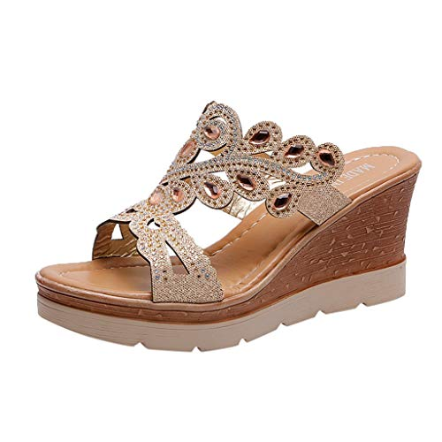 ◕‿◕Water◕‿◕ Women Slippers,Bohemia Crystal Shoes Wedges Thick Peep Toe Sandals Ladies Mid-Heel Slippers Fish Mouth Slippers Gold ()