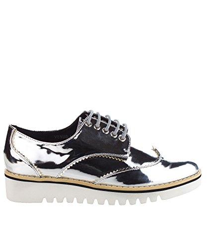 Scarpe Da Donna Sneakers Oxford In Pelle Con Plateau In Pelle Metallizzata Moda Cape Robbin Argento