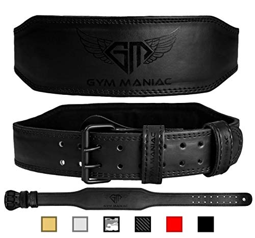 Gym Maniac GM Weight Lifting Waist Gym Belt | Adjustable Size, 2 Prong Buckle, Comfy Suede, Reinforced Stitching | Support Your Back & Alleviate Pains (Dark Black, L)