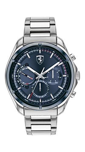 Ferrari Men's Quartz Watch with Stainless Steel Strap, Silver, 22 (Model: 830755)