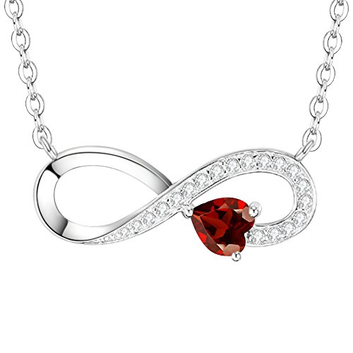 Christmas Gifts Love Heart Infinity Necklace for Women Red Birthstone Fine Jewelry Gifts for Her Lady Sterling Silver