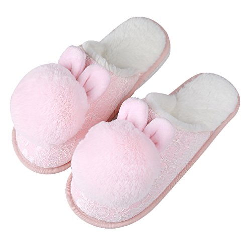 Cattior Womens Pompoms Cute Slippers Ladies Indoor Slippers Pink bvybywxevK
