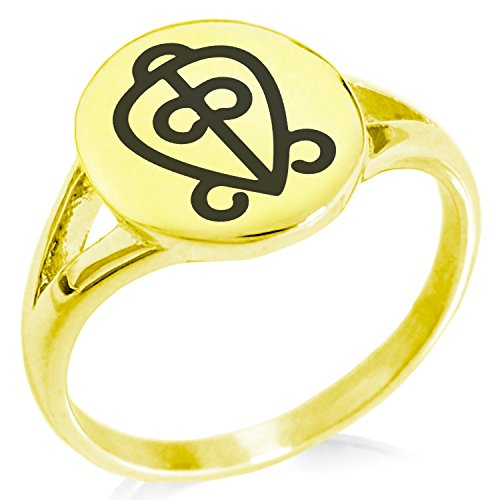 (Tioneer Gold Plated Stainless Steel Aztec Power of Love Rune Symbol Minimalist Oval Top Polished Statement Ring, Size 9)