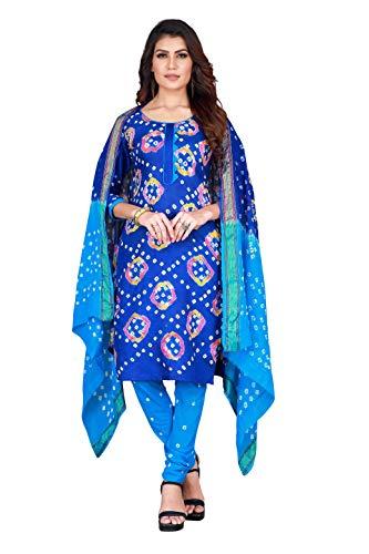 Concepta Women's Satin & Cotton Bandhej Unstitched Dress Material