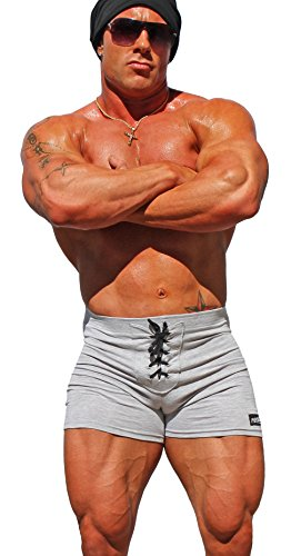 53bf926969366 Physique Bodyware Men s Lace-Up Workout Shorts. Made in USA - Grey -   Amazon.co.uk  Clothing