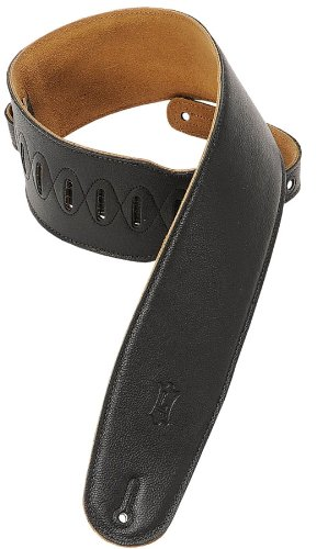 "Levy's M4GF 3.5"" Padded Leather Guitar Strap - Black - Extra"