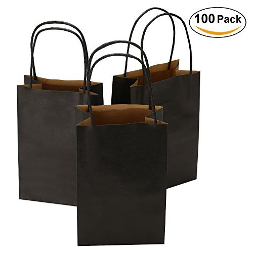 Road 5.25 x 3.25 x 8 Inches 100pcs Black Kraft Paper Bags with Handle, Shopping Bag, Retail bag, Craft Bag, Merchandise Bag, Party Bag