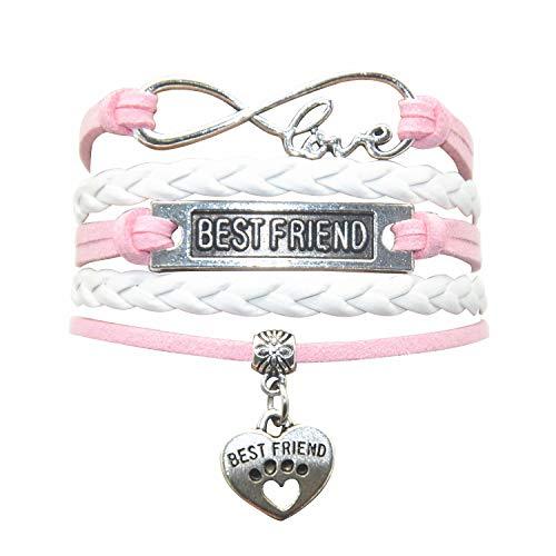 HHHbeauty Best Friend Friendship Bracelet (2018 Leather Infinity Love Friendship Gifts Best Friend Bracelets for Women, Men, Girls, Boys, Friends, Teens, Lovers (Pink and White)