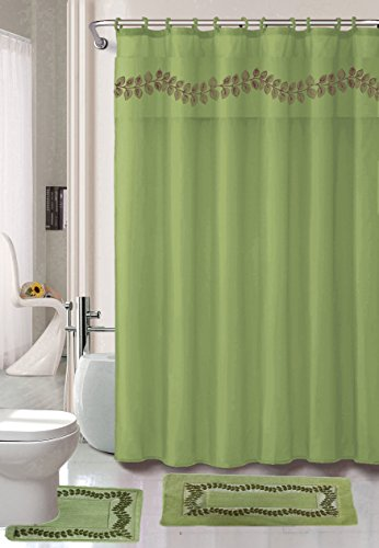 Nova Home Collection Non-Slip Safety Water Absorbent Soft 18 Pieces Bath Mat Floor Mat Set with Shower Curtain and Towel Set, Regular Package, Sage Green Color