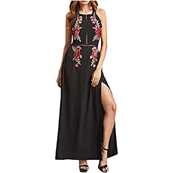 eb799bbc282 XWDA Women Chiffon Long Dress Sexy Embroidered Vintage Dress Backless Elegant  Party Evening Cocktail Maxi Dress at Amazon Women's Clothing store:
