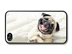 AMAF ? Accessories Cute & Funny Pug Smiling case for iPhone 4 4S