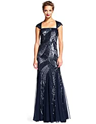 Adrianna Papell Womens Cap Sleeve Fully Beaded Gown